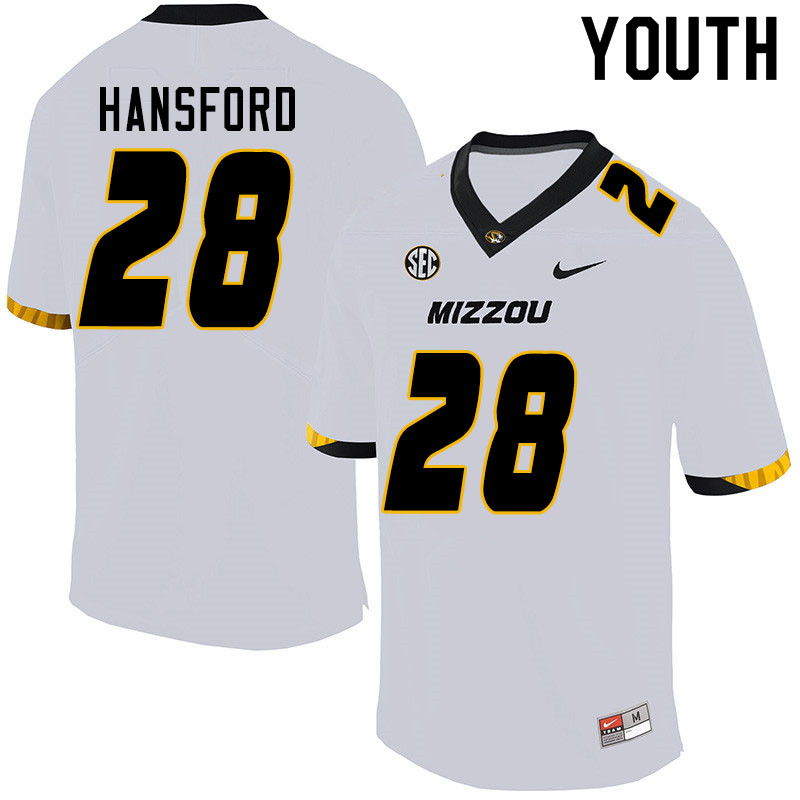 Youth #28 Jatorian Hansford Missouri Tigers College Football Jerseys Sale-White